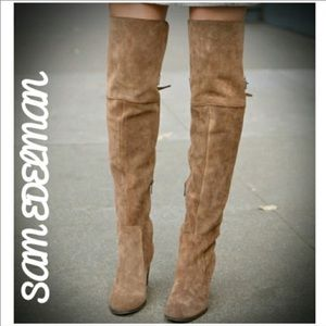 Sam Edelman Sutton tan suede over the knee boots